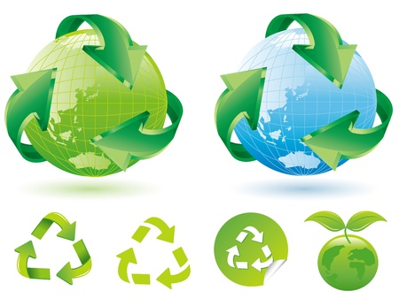 Recycle Symbol with Earth  Vector