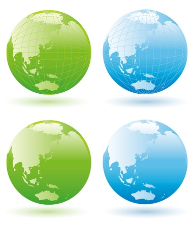 blue sphere: Recycle Symbol with Earth Illustration