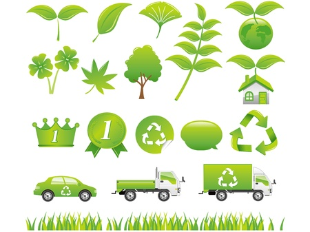 green eco icons set Stock Vector - 13023964