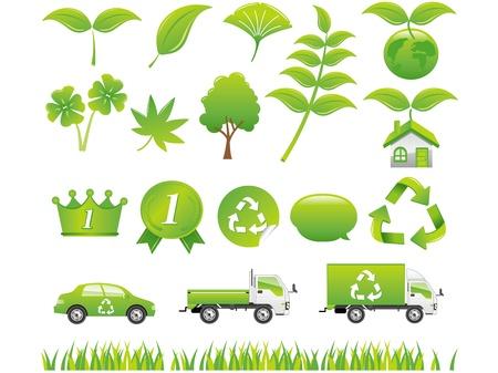 green eco icons set Stock Vector - 13023964