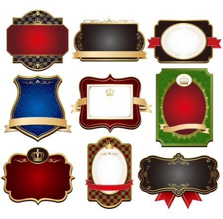 black gold frame labels set  Vector