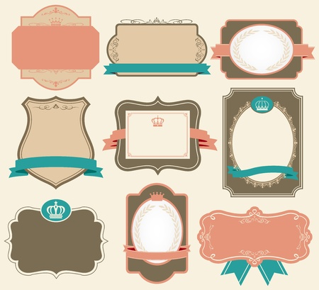 ribbon badge: retro label vector Illustration