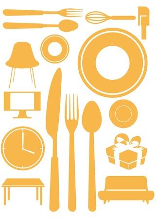 Furniture interior design home goods icon set Vector