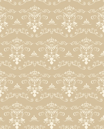 Seamless Golden Damask Pattern  Vector