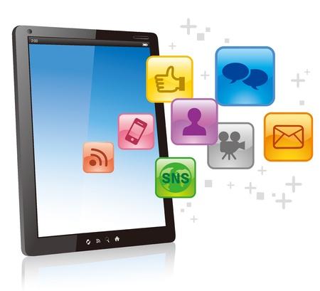 vector smart phone social media icons Stock Vector - 13076278