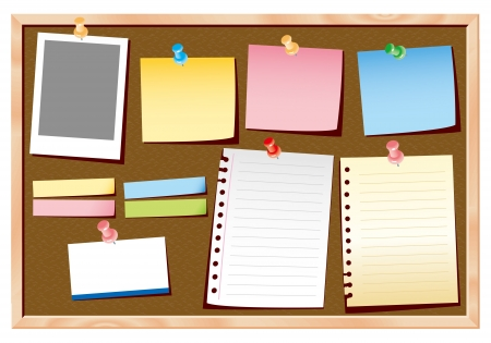 post it note: cork board vector Illustration