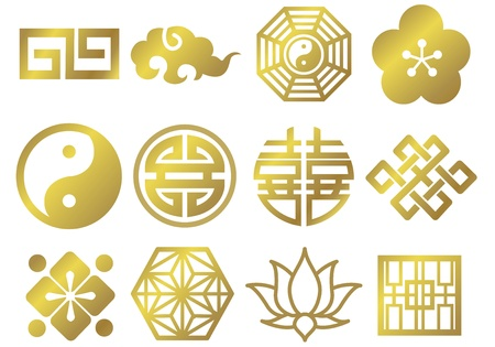 chinese asian japanese decorative icons Vector