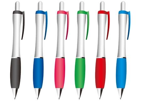 Colored ball pens vector  イラスト・ベクター素材