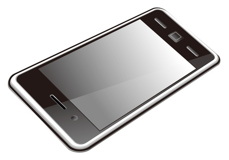 android tablet: smart phone, touch screen phone isolated on the white background Illustration