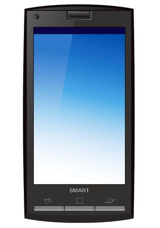 agenda electr�nica: tel�fono inteligente, pantalla t�ctil de tel�fono aislado en el fondo blanco