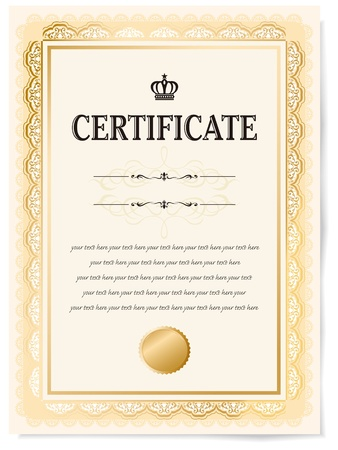 certificate design: Illustration of a certificate  Award of Excellence with golden ribbon