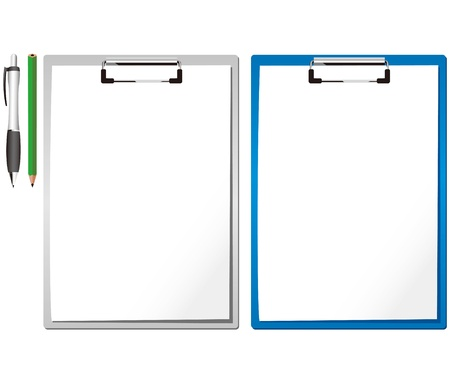 blue & silver clipboard ball dog clip and white blank paper Stock Vector - 13115565