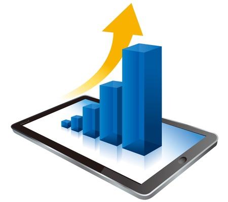 デジタル タブレット コンピューターでのビジネスのグラフ