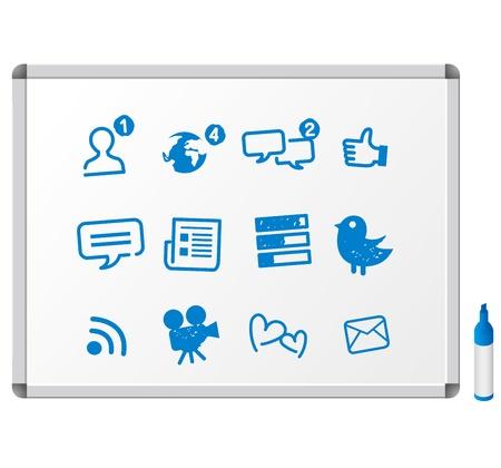ソーシャル ネットワーク サービスのメディア アイコンを設定  イラスト・ベクター素材
