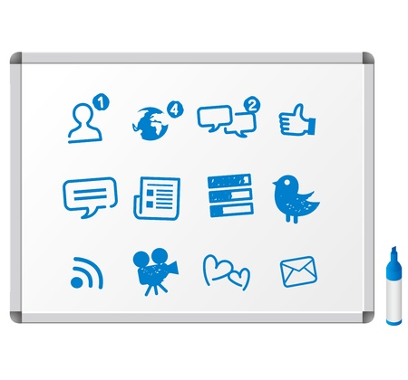 social network servise media icons set Vector