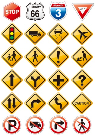 overtaking: collection of road signs 3d