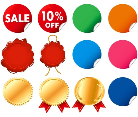 silver star: Gold decoration medals label seal wax vector