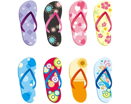 sandals: Colorful slippers Illustration