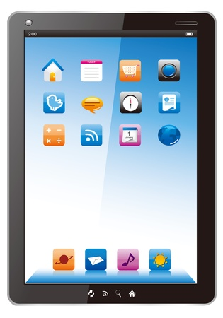 digital tablet with applications. Vector icon. Vector
