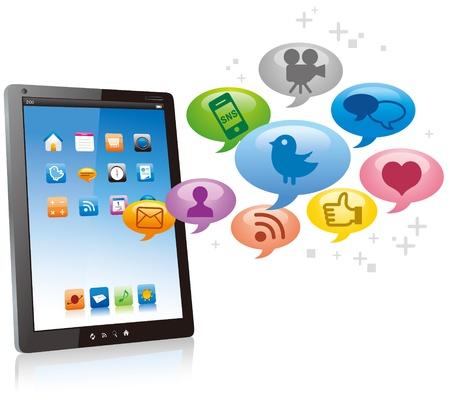 web application: Tablet PC con la nuvola di icone delle applicazioni colorate isolato su sfondo bianco vettoriale