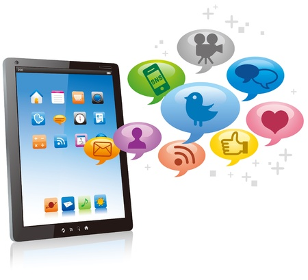 Tablet PC with cloud of colorful application icons isolated on white background vector