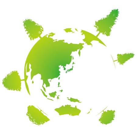 earth with tree wood 向量圖像