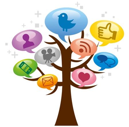 通訊: 現代社會媒體的抽象計劃 向量圖像