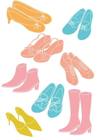 foot gear: women and men shoes Illustration