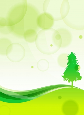 grass roots: Green Background With Trees Illustration