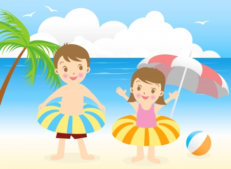 summer beach boy girl Vector