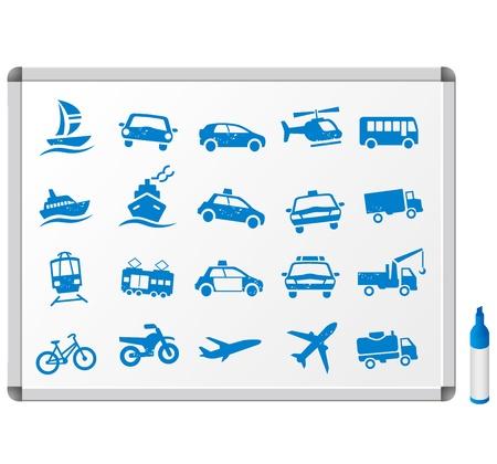 トランスポートのアイコンを設定  イラスト・ベクター素材
