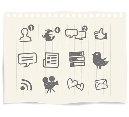スケッチを描くソーシャル メディアのアイコン