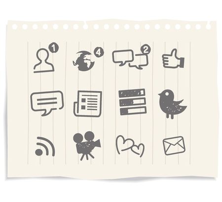 social media icons drawing sketch Illustration