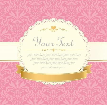 招待ヴィンテージ ラベル フレーム ピンクのパステル