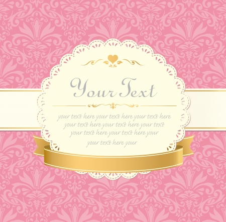 invitation vintage label frame pink pastel
