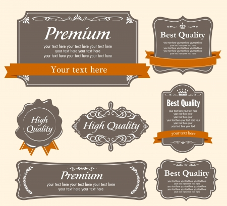 gratification: Collection of Premium Quality and Guarantee Labels with retro vintage styled design