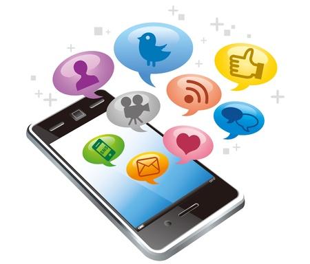 wireless network: Pantalla t�ctil tel�fono inteligente con iconos de medios sociales aislados sobre fondo blanco Vectores