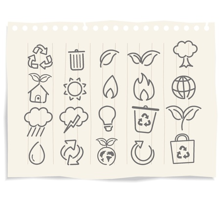 environment icons on grunge paper Vector