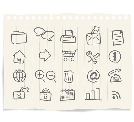 autorizacion: Iconos de web de Internet en el papel del grunge