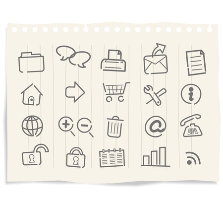 printer drawing: internet web icons on grunge paper