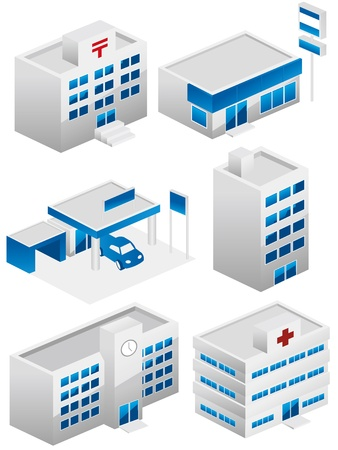 suburbs: building icons set Illustration