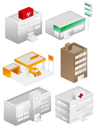 building icons set color Stock Vector - 15312850