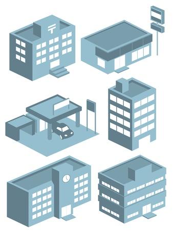 사무실 건물: 건물 아이콘 벡터를 설정합니다