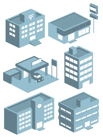 post office building: building icons set vector