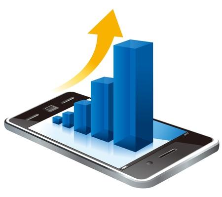 analyse: graph on screen Illustration