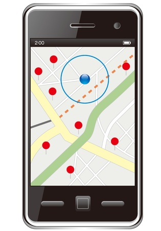 straight pin: smart phone with GPS map