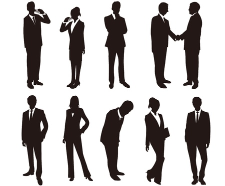 smart phone woman: Business woman silhouettes