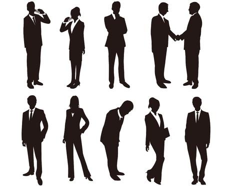 business stress: Siluetas de mujer de negocios