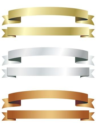 banner gold sliver copper  イラスト・ベクター素材