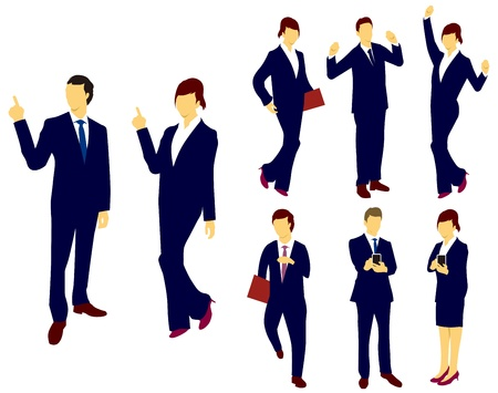 Business man woman silhouettes.Vector Stock Vector - 16356976